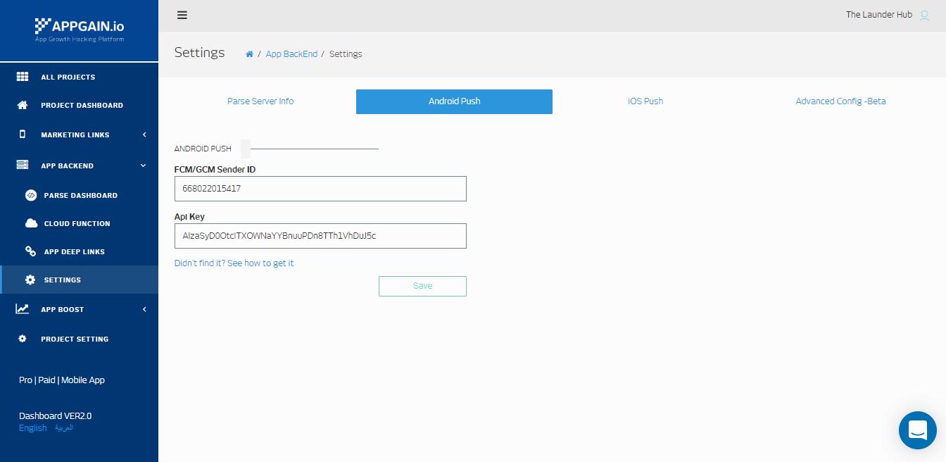 Appgain Android Push settings